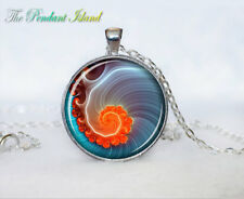 FRACTAL spiral Jewelr photo Tibet silver Cabochon glass pendant chain Necklace