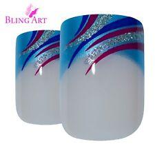 False Nails Blue French Manicure Bling Art Glitter 24 Fake Medium Tips 2g Glue