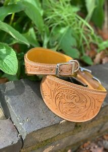 Vegetable Tanned Leather Whippet Saluki Greyhound Lurcher Collar Hand Tooled