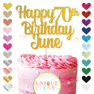 Happy 70th Birthday Cake Topper Custom Name Glitter Any Age Name Seventy 70 80