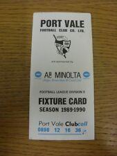 1989/1990 Port Vale: Accesorio oficial Folleto-cuatro páginas (con los resultados se indique).