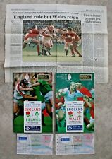 2 Rugby Union 1994 England v Wales, Ireland Programmes - Tickets - Clipping