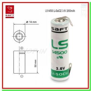 SAFT LS14500 CNR Batteria Pila 3,6V Li-SOCl2 STILO AA STS Lamelle a U Saldare