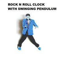 Rock N Roll Horloge Horloge murale ELVIS PRESLEY Nouveauté Swinging pendule Bleu Entièrement neuf dans sa boîte