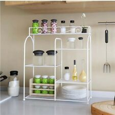 White Metal Wire Kitchen Organizing Rack Countertop Pantry Corner Storage Holder