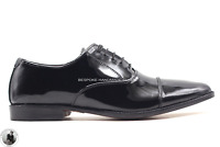 Chaussures de soirée formelles en cuir noir à lacets pour hommes à la main