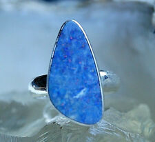 Silberring 55 Edelopal Boulder Opal Freiform Dreieckig Ring Silber Schlicht Edel