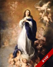 IMMACULATE CONCEPTION MARY MOTHER OF JESUS PAINTING BIBLE ART REAL CANVAS PRINT