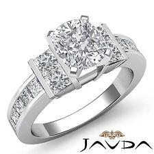 666590b15757 Brillante Almohadón Diamante Canal Conjunto Anillo de Compromiso GIA H SI1  14k