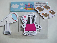 "PEPPA / PEPPER PIG ""ZOE ZEBRA"" set of 3 Fridge Magnets double sided, toy,NEW"