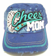 CAP CHEER MOM RHINESTONE DISTRESSED BLUE DESIGN HAT BLING  NEW