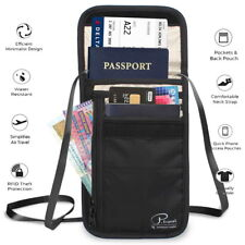 Genuine RFID-Blocking Travel Neck Stash Anti-Theft Hidden Security Wallet Pouch