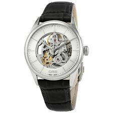 Oris Artelier Silver Skeleton Dial Automatic Mens Leather Watch 01 734 7721