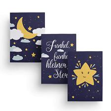 Poster Set Kinderzimmer, Gute Nacht Wandbilder 3 Stück A4 Bilder, Nachthimmel