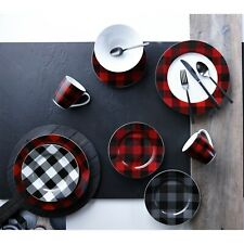 Buffalo Plaid Red/Black,White/Black, Grey/Black 16PC Dinnerware Dining set