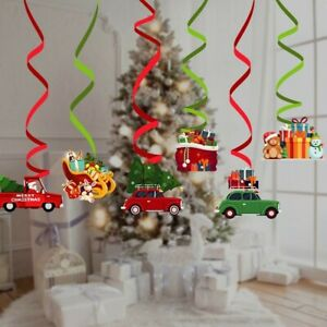 Xmas Ceiling Decorations,6pcs Christmas Hanging Spiral Ornaments For Tree