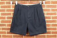Tommy Hilfiger Mens Shorts Sz 38 Navy Blue Chino Pleated Front Cotton