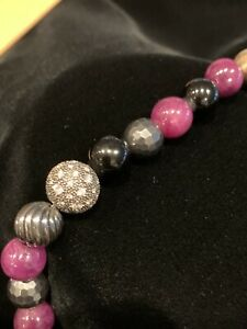 "DAVID YURMAN  Diamond, Ruby, Onxy, Gold Beaded FABULOUS Rare Necklace 17"""