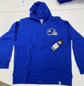 $75 NWT 47 Brand Kid's New York Giants Hoodie Hooded Sweatshirt Full Zip LARGE L