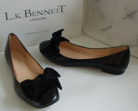 LK BENNETT London Black Ballet Pump Velvet Bow Flat Shoes Size EU 36 UK 3