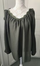 Boohoo Plus Lace Trim Open Shoulder Batwing Olive Green Top Size 20 New
