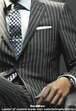 Custom Made To Measure Chalk Stripe Men Suits,Bespoke Charcoal Grey Men Tuxedo