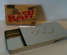 RAW 300's Classic 1 1/4 Rolling Papers + Slide Top Tobacco Storage/Stash Case