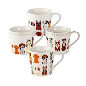 Mugs 4pc Mug Set Tea Coffee Cups Porcelain China Dogs Gift Dog Lovers Women Men