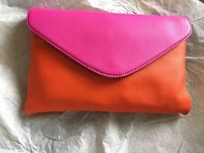 J Crew Invitation Envelope Colorblock Leather Clutch Purse Pink Orange NWT