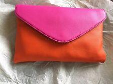 J Crew Invitation Envelope Colorblock Leather Clutch Purse Pink Orange NWT $88