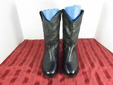 "Steve Madden Lasoo Black Leather 9"" Boots Western Cowboy Casual Women Size 7.5M"