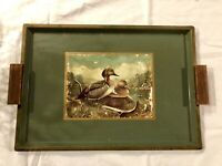Vintage Nashco Hand Painted Ducks Metal Tray Wood Handles & Label 16x11.25