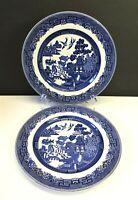 "Set/2 Johnson Bros Willow Blue & White 10¼"" Dinner Plates England 1970-2003"