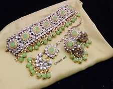 Traditional Bollywood Style Gold Bridal Kundan Green Necklace Women Jewelry Set