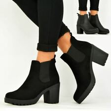 44344092ebc7 Womens Ankle Chelsea BOOTS Chunky Block HEELS Winter Shoes Size UK 3-8 Black  Suede