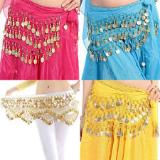 Belly Dance Gold Coin 3 Rows Belt Hip Scarf Skirt Wrap Chain Dancing Costume li