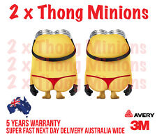 2 x G-STRING MINIONS  back window CAR, TRUCK WALL OR DOOR STICKER DECAL