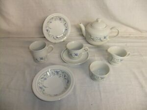 c4 Pottery Staffordshire Tableware NEW blue floral teapot cup bowl plate 7B3B