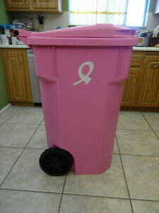 THE PINK CART 64 GALLON GARBAGE RECYCLE TRUCK CAN CURB CANCER BY CASCADE CARTS