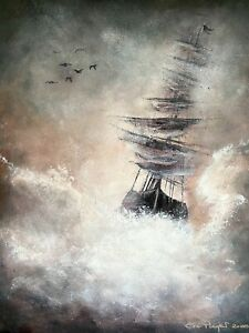 "Original Acrylic Sailing Ship Abstract Painting on Canvas Art 16"" x 20"""