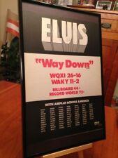 """BIG 11X17 FRAMED ORIGINAL ELVIS PRESLEY """"WAY DOWN"""" 45 SINGLE LP ALBUM PROMO AD"""