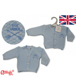 Premature Baby Cardigans-Blue Boys-Preemie Range-3-5 lbs-5-8 lbs-Little Warrior