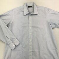 Paul Stuart Mens Button-Front Shirt White Blue Striped Long Sleeve Cotton 2XL
