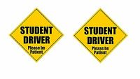 """Zone Tech 2x Student Driver Please Be Patient 5""""x 5"""" Magnets Safety Caution Sign"""