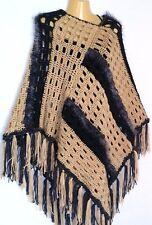 Womens Poncho Sweater Top Cape Fringed Boho Hippie S M L XL 1X Soft Beige Gray