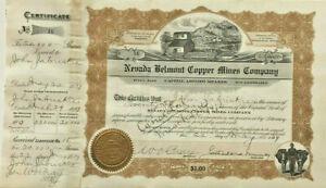 Nevada Belmont Copper Mines Company > 1909 Arizona Manhattan stock certificate