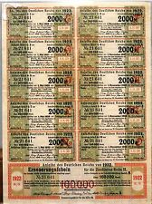 100,000 Marks German Defaulted Hyperinflation Bond w/Coupons 1922 Full Sheet
