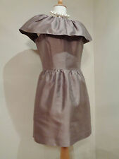 REISS TAUPE SILK BLEND SATIN COLLARED  COCKTAIL DRESS SZ UK 8