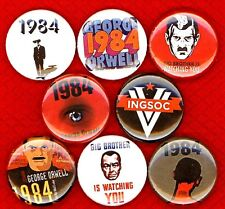 1984 George Orwell x 8 NEW 1 inch pins buttons badge big brother watching ingsoc