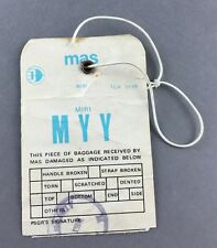 MAS MALAYSIAN AIRLINE SYSTEM MIRI MYY VINTAGE BAG TAG BAGGAGE LUGGAGE LABEL